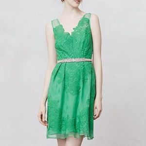 Anthropologie Barachi green coverlace dress